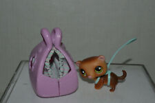 Littlest Pet Shop~#209~Ferret~Brown~Gr een Eyes~Blue Harness & Leash~Pink Carrier