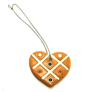 HAND PAINTED CERAMIC HEART SHAPED CHRISTMAS TREE ORNAMENT BROWN GREEN RED WHITE