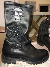 NEW CHRISTIAN DIOR Black Maniac Stretch Leather Mid Calf Boots Moto 37.5