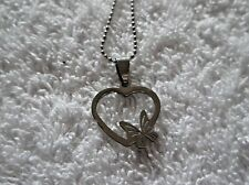Ex-display RIBBON & HEART Pendant NECKLACE 25 Inch Ball Chain