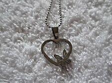Ex-Display Cinta & Corazón Colgante Collar de cadena de bola de 25 pulgadas