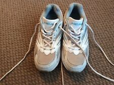 LADIES HEAD TRAINERS WHITE AND SILVER AND BLUE SIZE 8