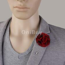 Vintage Fabric Lapel Flower Boutonniere Tuxedo Wedding Brooch Pin Mauve Red