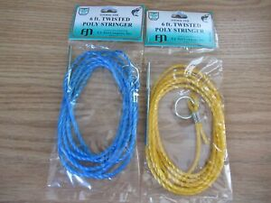 2 POLY STRINGERS SILENT 6 FT TWISTED CORD ROPE ASST COLORS FISH FISHING STRINGER