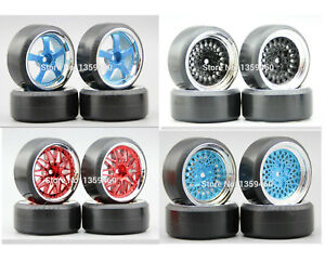 1/10 Rc Car Drift Wheels Tires Set For Hpi Rs4 Tamiya tt01e tt02 Traxxas 4tec