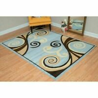 5 x 7 feet Modern Area Rug Artistic Contemporary Whimsical Pattern Blue/Brown