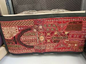 """Bombay Store India Wall Hanging Table Runner Embroidered Red 60"""" x 15"""" NWT"""