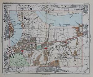 1896 MAP STREET PLAN LONDON EAST GREENWICH CHARLTON WORKHOUSE ROYAL NAVAL SCHOOL