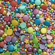 RAINBOW GLIMMER MIX - CONFETTI, STARS & PEARLS -  Edible Cake Sugar Sprinkles