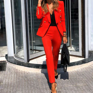 2pcs Women Solid Color Formal Business Blazer Double Breasted Coat Trousers Suit