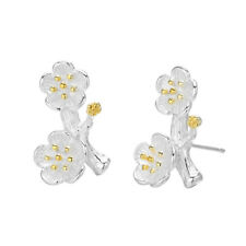 925 Silver Cherry Blossom Stud Earrings Branch Flower Earings Bridesmaid