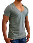NEW MENS PLAIN GREEN STRIPE DEEP V NECK T-SHIRT SLIM FIT CASUAL GYM S XL FASHION