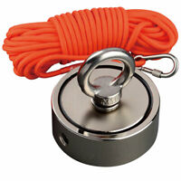 Double Sided Strong Fishing Magnet Kit Metal Salvage Recovery 15M Rope 620LBS*2