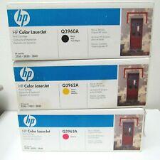 3 PK New Genuine HP Color LaserJet 2550 2820 2840 Printer Toner Q3960A Q3962A