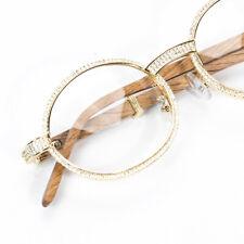 Men's Vintage Retro Gold Clear Lens Wood Grain Hip Hop Ice Out Cz Frame Glasses