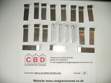 20 x Greenhouse Aluminium Glazing Clips for 4mm Glass