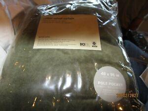 2 West Elm cotton Velvet drapes panels dark olive green 48 96 New
