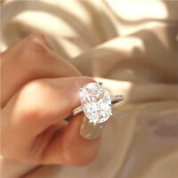FJ- Simple Women Big Oval Cubic Zirconia Engagement Proposal Finger Ring Jewelry