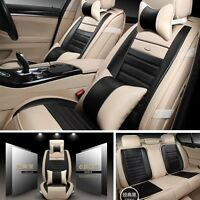 PU Leather Deluxe 5-Seats Car Seat Cover Mat Chair Cushions -Black - with Pillow
