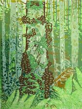 Forest Trail, Invergarry, Scotland Original Hand Pressed Linocut Print Ltd Edit