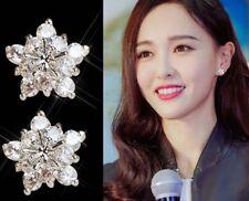 Snowflake CZ 925 Sterling Silver Stud Earrings Wedding Jewelry Women Gift K65