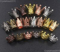 Solid Metal King Crown Bracelet Connector Charm Beads Silver Gold Copper Bronze