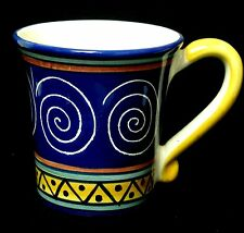 Pier 1 Italian Swirl Coffee Mug Blue Handpainted Pottery NEW 3 Avail Gift Idea