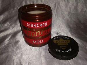 RARE BATH &  BODY WORKS FALL AUTUMN CINNAMON HONEY APPLE JAR BEESWAX CANDLE