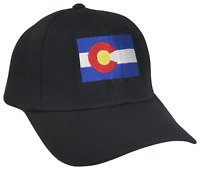 Colorado CO State Flag Curved Bill Adjustable Baseball Cap Caps Hat Hats Black