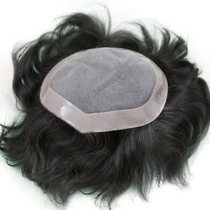 MONO BASE 100% human hair mens black brown toupee hair system hairpiece