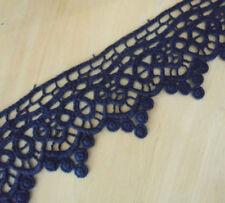 """3""""' Wide Lovely Floral Cotton Crochet Lace Trims Dark Blue m0154"""