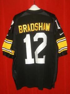 Authentic #12 Nike Terry Bradshaw Pittsburgh Steelers Black Home Jersey Size 52