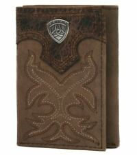 Ariat Mens Brown Leather Boot Stitched Tri-Fold Wallet (Medium Brown)