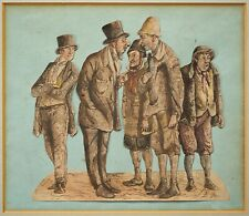 More details for five men | 19th century victorian ink & watercolour collage drawing