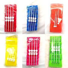 6 PACKS OF HAIR ROLLERS WITH PINS - 6 SIZES VARIOUS COLOURS- 65mm length