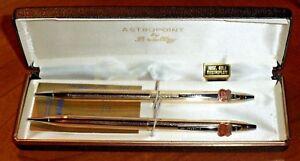 """VINTAGE PHILLIPS 66 """"ASTROPOINT PEN & PENCIL SET by BRADLEY - 18K GOLD ELECTROPL"""