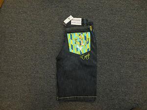 COOGI Men's BLACK Denim Jean Shorts NWT Teal Yellow Head Design $135 RETAIL!