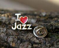 I 'Heart' Jazz Love Music Red & Gold Tone Metal Lapel Pin Pinback