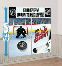 HOCKEY Scene Setter birthday party wall decor kit 5' sports NHL puck arena