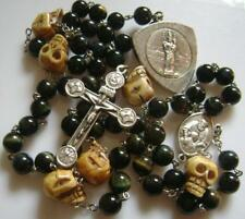 RARE Old Bone Skull & Blue Tiger Eye Jade BEADS ROSARY CROSS CRUCIFIX NECKLACE
