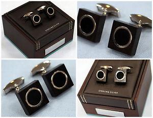 Sterling Silver Tateossian Cufflinks - Black Agate - Made in London