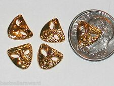 2pc Glass miniature dollhouse tiny little loose golden Mardi Gra opera Mask 9mm
