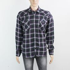 NEW Duck & Cover Mens Size XL Purple Check Long Sleeve Cotton Shirt