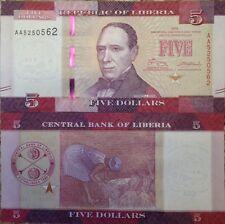 LIBERIA 2016 5 DOLLARS UNC BANKNOTE P-NEW EDWARD J ROYE HARVESTING USA SELLER