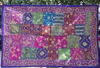 Tenture indienne Dessus de table Tapis mural Patchwork Très travaillée Violet H