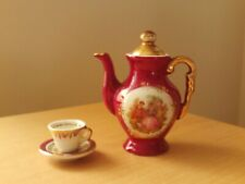 Vintage Meissner Limoges France Pink & Gold Miniature Teapot, Cup & Saucer.