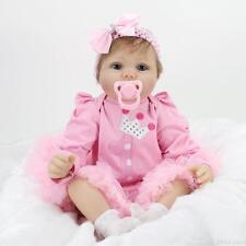 "Realistic Reborn Baby Girl Newborn 22"" Soft Silicone Vinyl Baby Dolls Handmade"