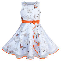 Sunny Fashion Robe Fille Papillon Orange Mariage Partie Anniversaire