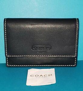 COACH Vintage Smooth Black Leather Accordian Cardholder Wallet-FS8889-NWT!