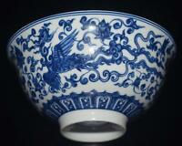 Fine Chinese Blue and white Porcelain Hand-painted Dragon Phoenix Bowls Qianlong